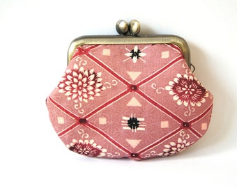 Japanese Frame Coin Purse,Japanese Fabric, Pink,Antique Gold Colour Metal Frame