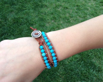 Turquoise Leather Double Wrap Bracelet