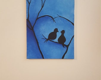 Love Birds in the Night Painting