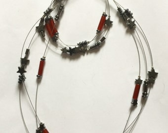 Hematite and Carnelian Triple Necklace and Bracelet Set