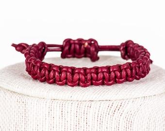Maroon Leather Macrame Bracelet