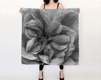 Black Silk Scarf Printed Lightweight Scarf Square Scarf Digitally Printed Womens Scarf Summer Fashion Accessory Spring Scarf Fall Scarf