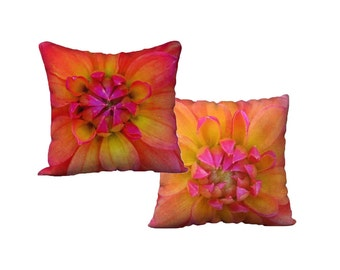 Floral Pillow Cover Orange Pink Yellow Case Throw Cover Decorative Sham Velveteen Canvas Pillow Square Oblong Lumbar Modern Decor Feminine