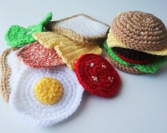 Crochet Play Food Sandwich and Hamburger, Pretend Play, Amigurumi Toy. Free Shipping to Canada