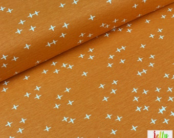 ORGANIC Cotton KNIT Fabric - Wink in Orange from Mod Basics 3 Collection by Birch Fabrics - UK Seller