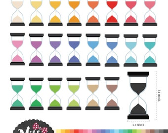 26 Colors Hourglass Clipart - Instant Download