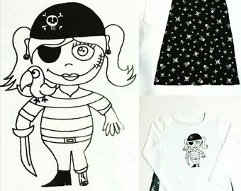 Peggy the Pirate Girl's Cape T shirt