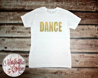 Gold Glitter DANCE Graphic Women's T-shirt Size Small-4X