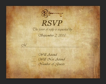 Skeleton Key, Parchment Paper Wedding RSVP PDF