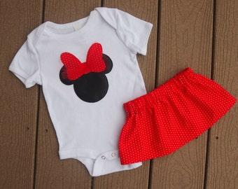 Minnie Mouse Inspired Infant Bodysuit and Skirt