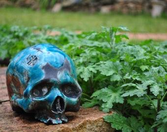 Skull turquoise glazed ceramic