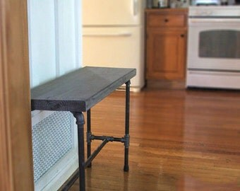 Plumbers Pipe Bench | Farmhouse Wood Bench | Industrial Wood Bench | Solid wood bench | Pipe Bench | Wood Pipe Bench | Entryway bench