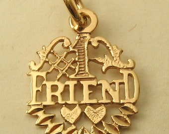 Genuine SOLID 9ct YELLOW GOLD Number 1 Best Friend charm pendant