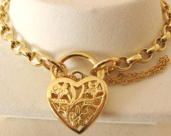 Genuine SOLID 9K 9ct YELLOW GOLD Oval Belcher Bracelet with Filigree Heart Padlock Clasp 19.5 cm