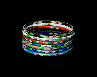 Colorful, Handmade Floral Cloisonne Bangle Bracelets from the 1980's, Set of 7