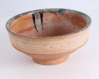 Vintage Old Ceramic Redware Pottery Bowl Cup.