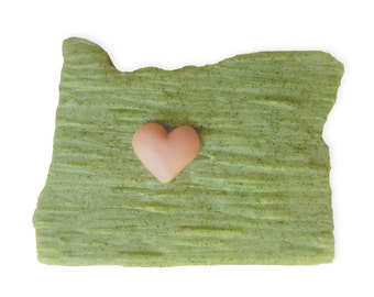 Heart Central Oregon || Hand-sculpted Soap ||  Made With Love In Bend || State-Shaped Soap || Hand-crafted, Cast, Individually Poured Soaps
