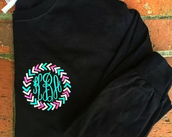 Long sleeve Monogrammed Arrow Tshirt- Many colors to choose from