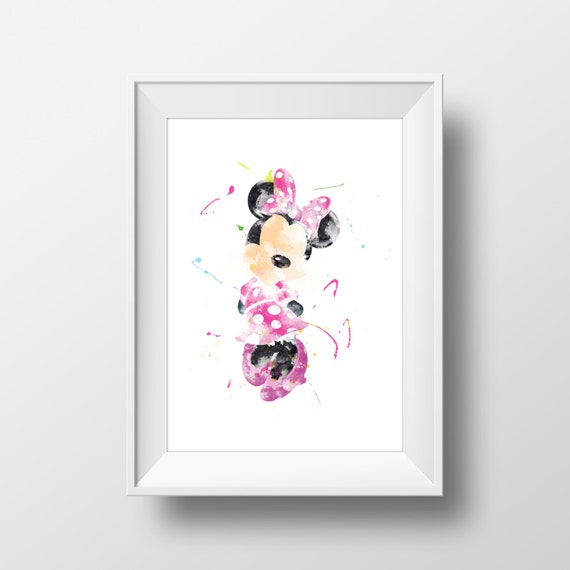 watercolor wall art minnie mouse print minnie mouse poster disney