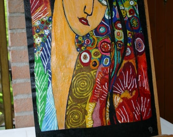 Encaustic Oriental woman inspired by Amedeo Modigliani by Mary