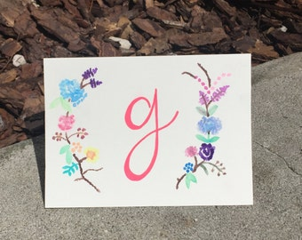 Monogrammed Watercolor Initial Card