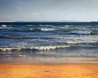 Blue Ocean Photography - Rustic Ocean Photography - Sunset Beach Photography - Pacific Ocean Fine Art Print - California Beach