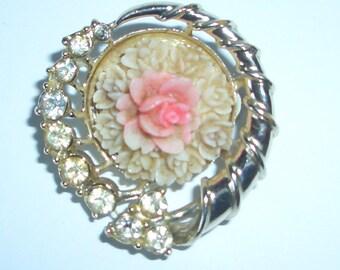 Vintage Rose and Diamond Brooch Pin