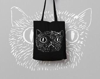 Black Tote Bag Cat - Canvas Tote Bag - Printed Tote Bag - Market Bag - Cotton Tote Bag - Funny Cat Bag - Cat Face Tote Bag
