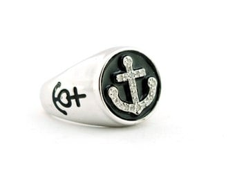 Still zirconata ring Silver 925 sterling silver and Onyx model open white gold plated ring open model