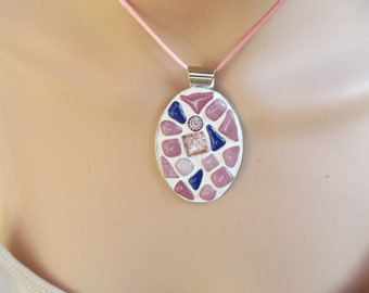 Pretty pink and blue mosaic fused glass pendant with cord and .