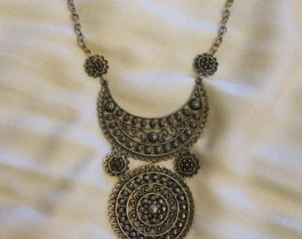 Striking Silver-tone Bib Necklace