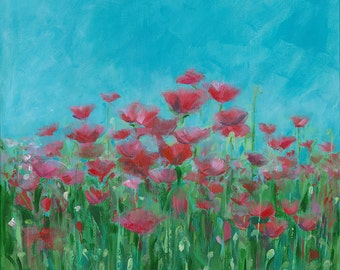 Morning Poppies: Fine art giclee print of original acrylic painting