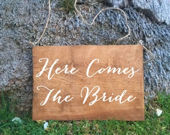Ring Bearer Sign - Here Comes The Bride Rustic Wedding Sign