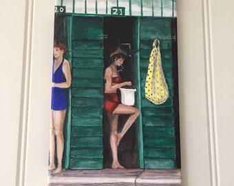 Beach huts - contemporary, acrylic on canvas, women, holiday