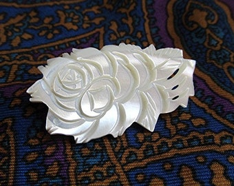 Mother of pearl brooch pin engraved rose design vintage 70s costume jewelry.