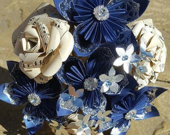 Bespoke Bridal Wedding Paper Flowers. Midnight Blue, Vintage Music Sheets with silver accents.