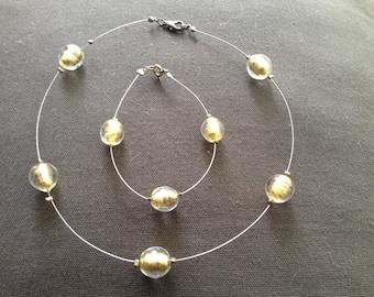 Venetian Gold Foil Necklace and Bracelet - Demi Parure