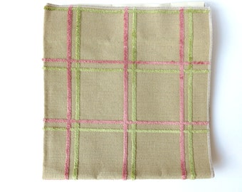 Upholstery Fabric Sample with Pink and Pale Green Plaid Pattern