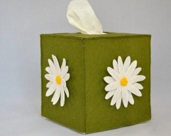 Daisy wool felt tissue box cover