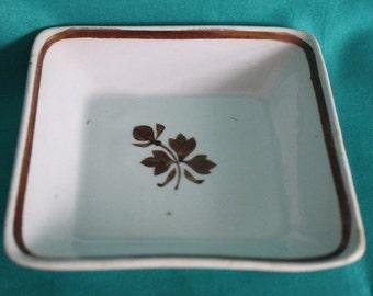 "1880 s Royal Ironstone China Alfred Meakin 4"" Sq Dish Copper Lustre Tea Leaf Design"