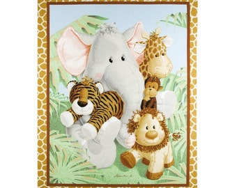 """Bazooples Fabric - Bazooples Jungle Babies Nursery Quilt Top Panel 100% Cotton Fabric 44"""" x 35"""", SC108"""