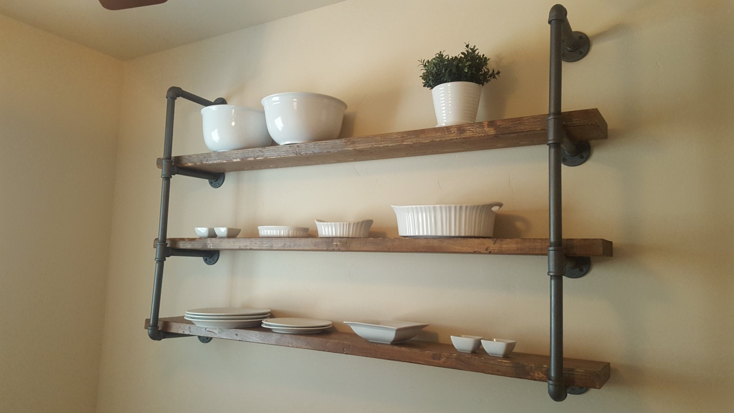 Large open pipe shelving with 60 shelves industrial Open shelving