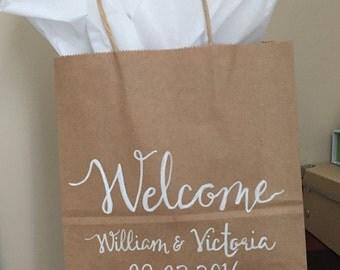 White writing Bridesmaid gift bag - custom kraft bag - bridesmaid gift - flower girl gift bag
