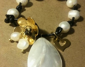 Mother of Pearl Tear Drop and Charm Bracelet
