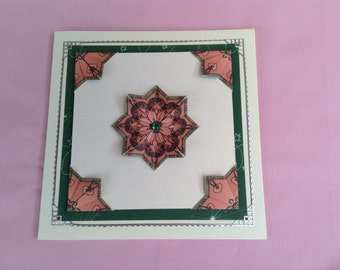 HANDMADE TEABAG CARD - Pink medallion and corners on cream and green card