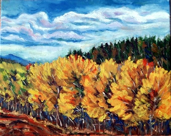 "Original Oil Painting, Autumn Trees, 16""x20"""