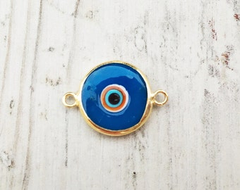 10 pc Glass Evil Eye Charms , Mini Good Luck Charms , Matte 22K Gold Plated Turkish Jewelry ,Turkish Findings