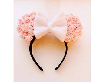 Minnie Mouse Ears - Light Pink Roses *Made To Order*