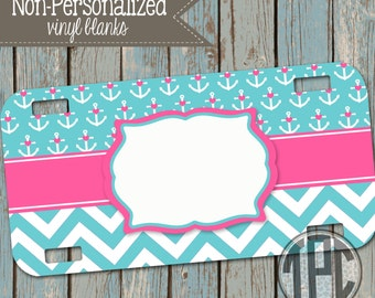 Vinyl Blank - License Plate - Personalize with Vinyl - anchors - nautical - 008