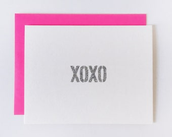 XOXO | handmade glitter typography just because card!